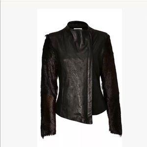 Helmut Lang fur sleeve leather jacket